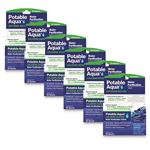 Potable Aqua Chlorine Dioxide Water Purification Tablets, 120 Count