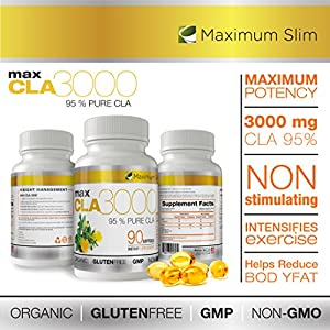 MAX CLA 3000, High Potency, Natural Weight Loss Exercise Enhancement, Increase Lean Muscle Mass, Non-Stimulating, Non-GMO 95% Pure CLA, 90 count