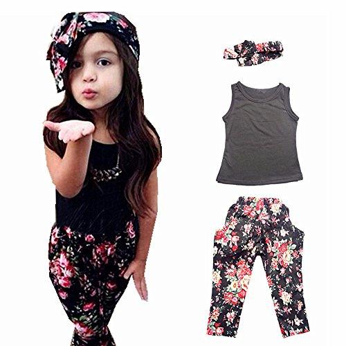 Girls' 3 Pieces Outfit Set Black Tank Top,Flowers Print Leggings,Headband (6T)