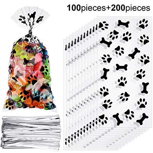 Homemade Dog Treats For Halloween (Maitys 100 Pieces Paw Bone Print Treat Bags Cellophane Clear Food Bags with 200 Pieces Twist Ties for Candies Chocolate Cookies Dessert)