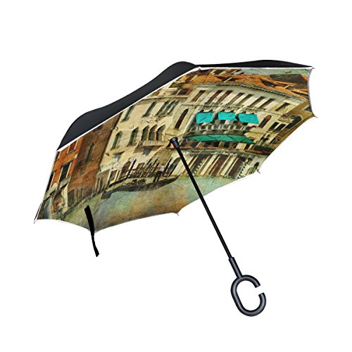 ALAZA Double Layer Inverted Umbrella Cars Reverse Umbrella Venice Italy Vintage Windproof UV Proof Travel Outdoor Umbrella by ALAZA