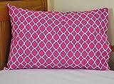 Fucshia Toddler Pillowcase Cute Quatrefoil (Lattice) Design 14x21 Great for Travel too!