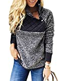 Sidefeel Women Button Neck Fleece Pullover Coat Asymmetrical Sweatshirts Outwear Small Black