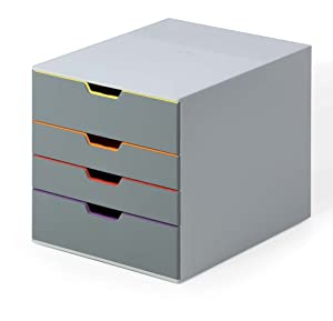 "DURABLE Desktop Drawer Organizer (VARICOLOR 4 Compartments with Removable Labels) 11"" w x 14"" d x 11.375"" h, Gray & Multicolored (760427)"