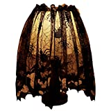 Kiwitwo 20 x 60 inch Halloween Decoration Lamp Shades + Silk Ribbon, Gothic Lace Spider Web Land shade Topper Lamp Cover for Halloween Theme Festive Party Supplies, Black