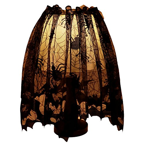 Gothic lamps amazon kiwitwo 20 x 60 inch halloween decoration lamp shades silk ribbon gothic lace spider web land shade topper lamp cover for halloween theme festive party aloadofball Image collections
