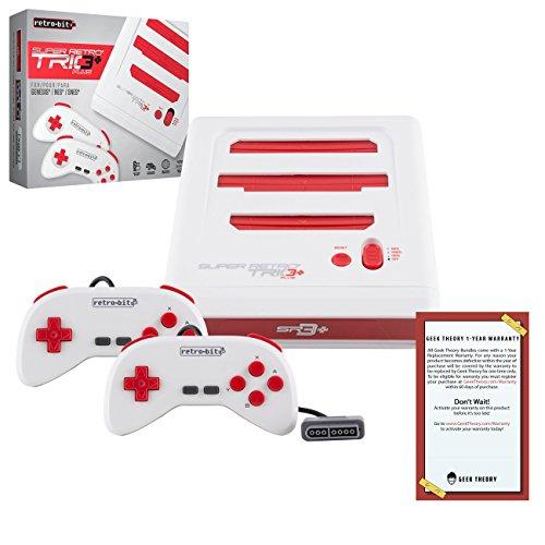 Retro-Bit Super Retro TRIO HD Plus 720P 3 in 1 Console System (2018) - for NES, SNES, and Sega Genesis Original Game Cartridges - Red/White