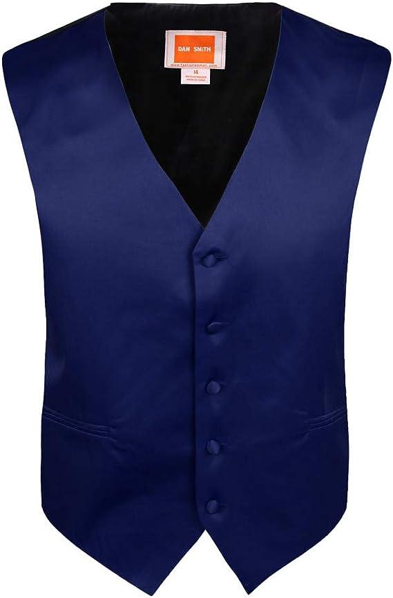Dan Smith DGEE0018-6 Dark Blue Children Solid Vest Microfiber Elegant For Kids Vest with Matching Bow Tie for Age 6