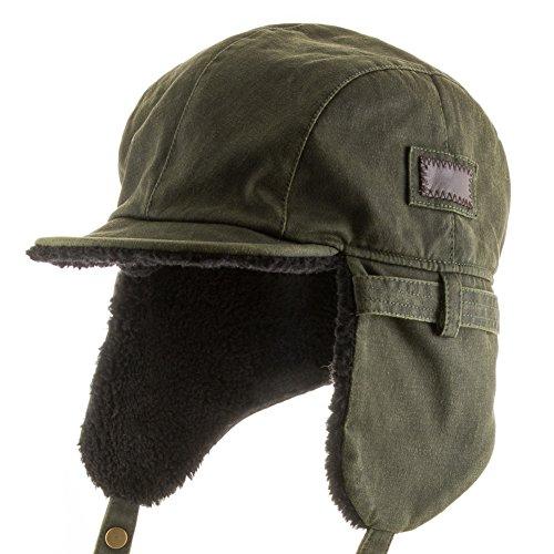 Leather Pilot Cap - Best Pilot Trooper Aviator Cap Faux Leather Hat Ushanka Trapper GREEN 7