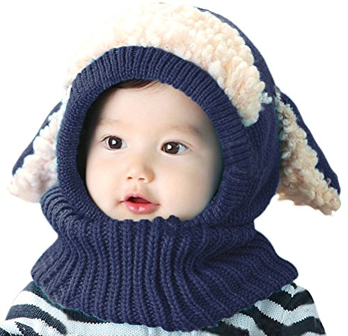 Bienvenu Children Boys Girls Knitted Oversized Hat Dog Woolen Ear Infinity Scarf Outdoor Skull Caps for Autumn Winter, Navy