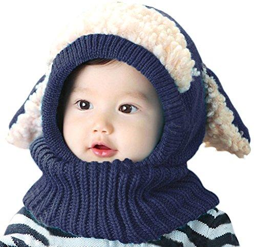(Bienvenu Children Boys Girls Knitted Oversized Hat Dog Woolen Ear Infinity Scarf Outdoor Skull Caps for Autumn Winter, Navy)