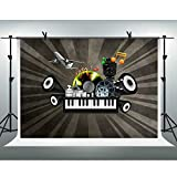 FHZON 10x7ft Musical Note Backgrounds Photography Piano Keyboard Sound Plane Photoshoot Backdrop Theme Party Photo Studio Props PFH572