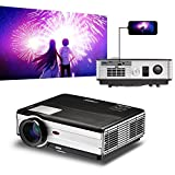 LED LCD Video Game Movie Projector Smartphone iPad iPhone Tablet Screen Mirror via USB, 3500 Lumens HD 1080P WXGA Home Cinema Projectors with HDMI,Dual USB,VGA, AV, Audio for Laptop PC DVD PS4 Outside
