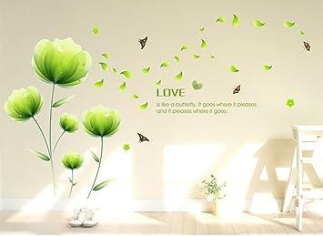 ufengke® Schöne Grüne Blumen Wandsticker, Wohnzimmer Schlafzimmer ...