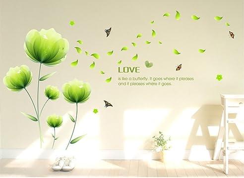ufengke® schöne grüne blumen wandsticker, wohnzimmer schlafzimmer ... - Wandbilder Wohnzimmer Grun