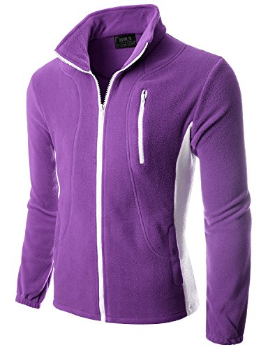 Doublju Mens Colorblock Long Sleeve Full-Zip Lightweight Fleece Jacket VIOLETWHITE,S (Telluride Leather)