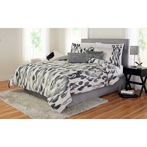 Comforter-Set. 6-Piece Home Bedding for Bedroom Furniture Includes Comforter, Shams, Accent Pillows, Bed Skirt. Contemporary, Cozy Faux Suede Texture Linens Kit with Gray Abstract Pattern (King)