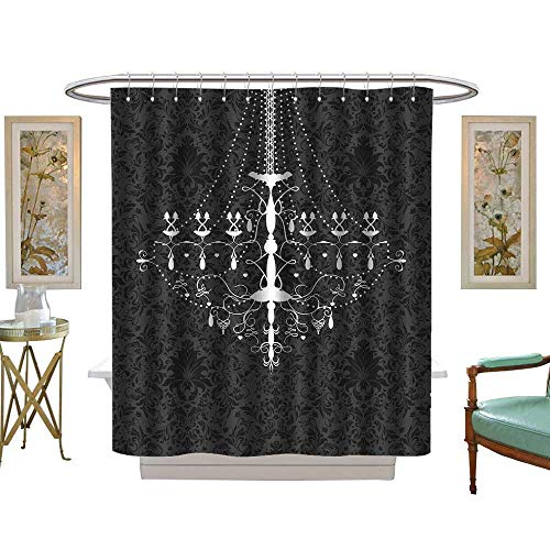 luvoluxhome Shower Curtain Customized Vintage Invitation Card with Ornate Elegant Abstract Floral Design W48 x L72 Patterned Shower Curtain