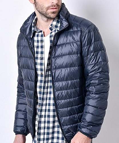MK988 blue Collar Down Stand Warm Jacket Packable Navy Fit Slim Mens Puffer rxqPgETwcr