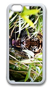 MOKSHOP Adorable angry tiger in bush Soft Case Protective Shell Cell Phone Cover For Apple Iphone 6 (4.7 Inch) - TPU White
