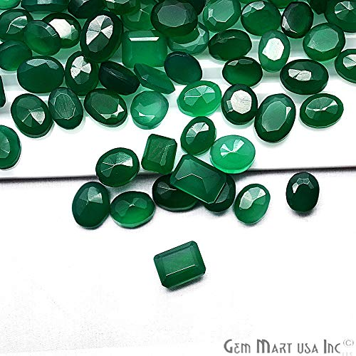 100 cts mix Green Onyx, Loose Faceted Stones, Green Onyx Mix, AAAmazing Cut and Quality [ GREEN ONYX ] (GO-60001)
