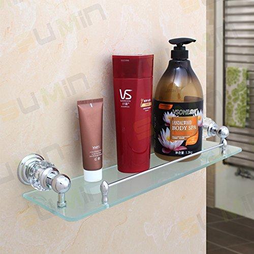 Sumin Home QC2213MC Modern Luxury Crystal Wall Mounted Wall Mounted Bathroom Glass Shelf, Chrome by Sumin Home (Image #4)