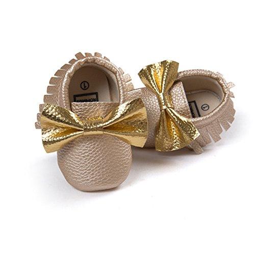 etrack-online Infant Toddler Moccasins Prewalker zapatos de cribe PW Talla:0-6 meses dorado