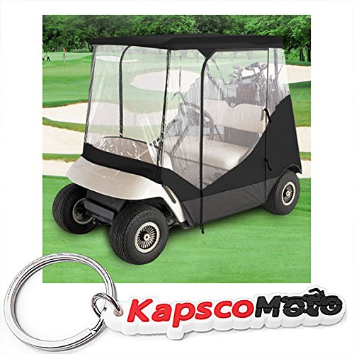 WATERPROOF SUPERIOR BLACK AND TRANSPARENT GOLF CART COVER COVERS ENCLOSURE CLUB CAR, EZGO, YAMAHA, FITS MOST TWO-PERSON GOLF CARTS + KapscoMoto Keychain