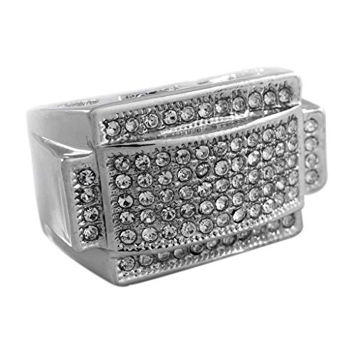 - NIV'S BLING – Men's Silver Cubic Zirconia Ring – AAA CZ Crystal Micropave Band Men, Size 11