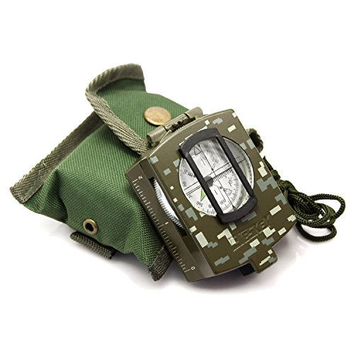 Eyeskey Waterproof Multifunctional Military Lensatic Compass Great for Hiking, Camping, Motoring, Boating with Pouch Camouflage Hand Bearing Compass