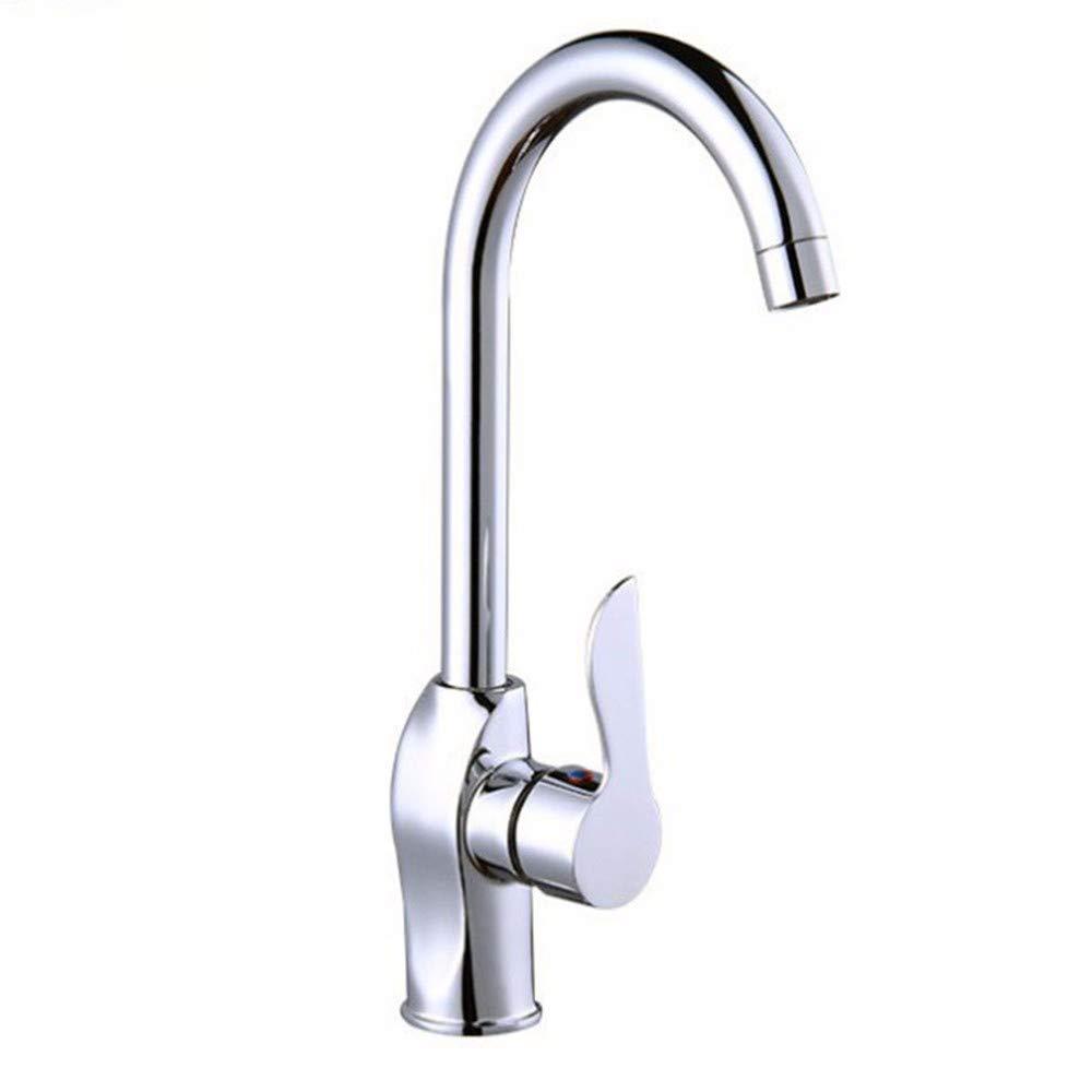 QWL-Faucet Spülbecken Wasserhahn Heißes und kaltes Wasser Tank Kupfer Körper rotierenden Wasserhahn einzigen Loch einzigen Griff