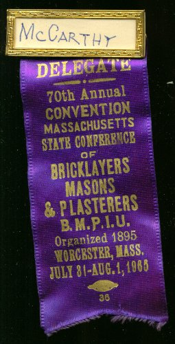 Massachusetts Bricklayers Convention Delegate pin 1965 ()