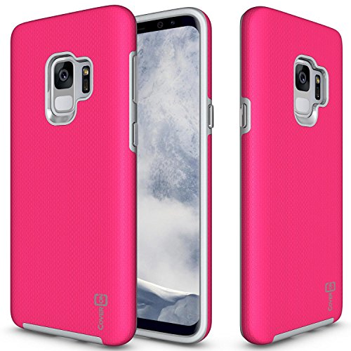 Samsung Galaxy S9 Case, CoverON [Rugged Series] Tough Protective Impact Absorbing Phone Cover with Easy-Press Metal Buttons for Galaxy S9 - Hot Pink