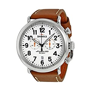 Shinola The Runwell Chrono White Dial Tan Leather Mens Watch S0100115