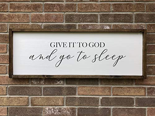 CELYCASY Give it to God and go to Sleep Framed Wood Sign, Bedroom Wall Art, Modern Farmhouse Decor, Large Framed Wood Saying, Over The Bed Wall - Sleep Framed