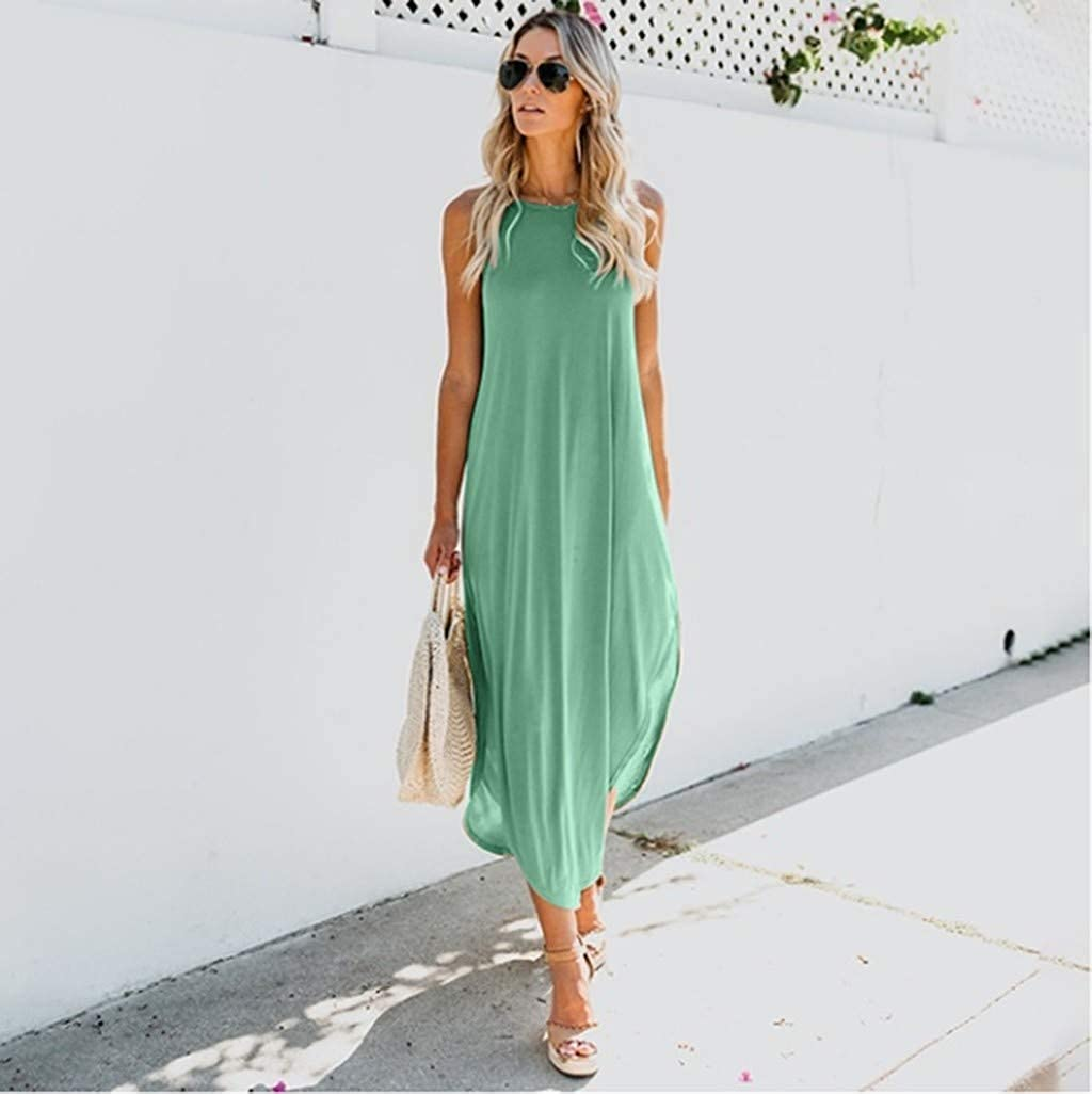 LOPILY Fairy Essential Casual Party Dress Women Casual Loose Solid Color Cami Sleeveless Dress Oversized Split Dress Elegant Petticoat
