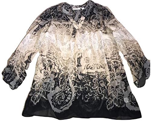 - Susan Graver Printed Sheer Chiffon Tunic with Roll Sleeve Black Size ^ a266799