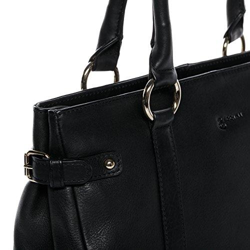 Dames Femme Sangle Sac des Sac épaule Sac Grand Cuir avec Noemi porté à Sac véritable Main Noir BACCINI® Sac P6qnI7I