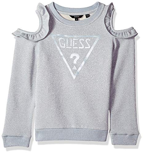 GUESS Girls' Big Cold Shoulder Scattered Pearl Logo Popover, Icing Blue, 12 ()