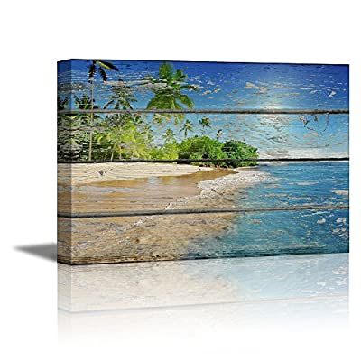 Tropical Beach with Palm Tree on Vintage Wood Background Rustic 12