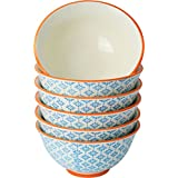 Nicola Spring Patterned Cereal Bowls - 152mm (6 Inches) - Blue / Orange Print Design - Box Of 6 by Nicola Spring