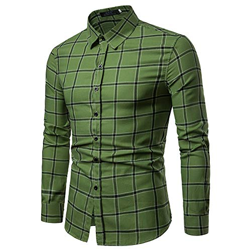 WOCACHI Final Clear Out Mens Plaid Button Shirt Checkered Lattice Long Sleeve Fit Bottoming Tops Black Friday Cyber Monday Autumn Winter Long Sleeve Tops Pocket Solid Dress Shirts Down Twill - Fab Designer Dog
