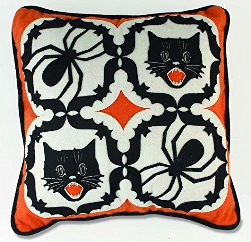 "Bethany Lowe Happy Hauntings Halloween Felt Applique Pillow, 14"" Square"
