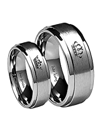 Blowin Her King/His Queen Ring Silver Stainless Steel Wedding Bands Engagement Promise Rings