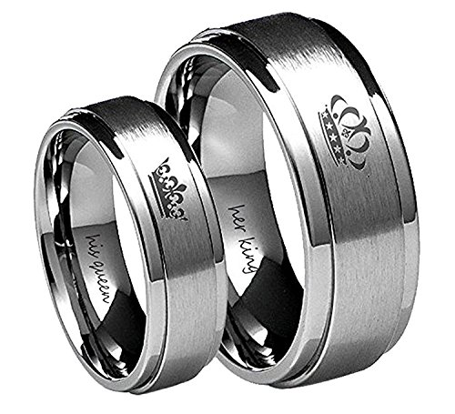 Blowin Her King/His Queen Ring Silver Stainless Steel Wedding Bands Engagement Promise Rings Stainless-Steel (her King), 7.5