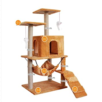 Weiwei Gato subiendo marco gato grab Pilar gato nido gato árbol gato madera tablero captura gato saltar plataforma para dormir juegos 48 cm * 42 CM * 115cm: ...
