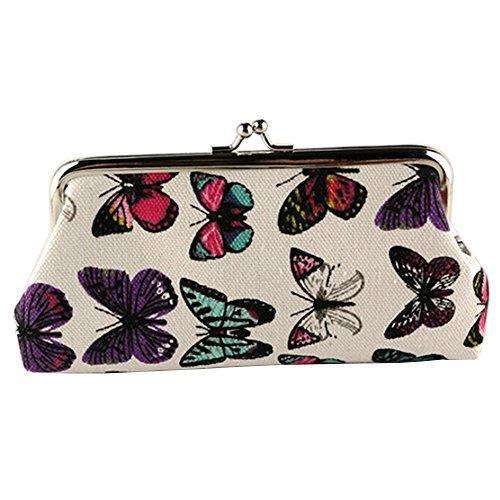Polytree Women's Ladies Butterflies Printed Coin Purse Canvas Pouch Cloth Buckle Clutch - Butterfly Purse