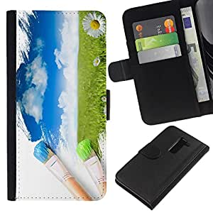 All Phone Most Case / Oferta Especial Cáscara Funda de cuero Monedero Cubierta de proteccion Caso / Wallet Case for LG G2 D800 // pintura de acuarela pincel pintor naturaleza