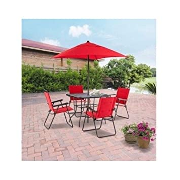 Charmant Outdoor Patio Furniture Set,Red Patio Furniture Set,6 Piece Folding Dining  Set,
