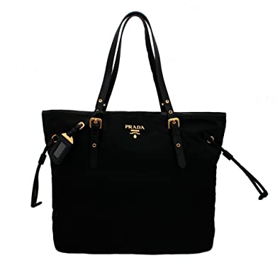 899bdeb2693a Amazon.com  Prada BR4997 Nero Tessuto Suffian Black Nylon and Leather  Shopping Tote Bag  Shoes